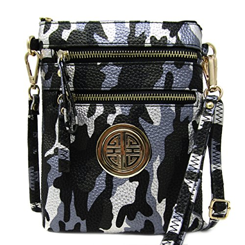 Solene Women's Faux Leather Organizer Multi Zipper Pockets Handbag With Detachable Wristlet Crossbody Bag (METALLIC BLACK/SILVER) (Metallic Multi Strap)