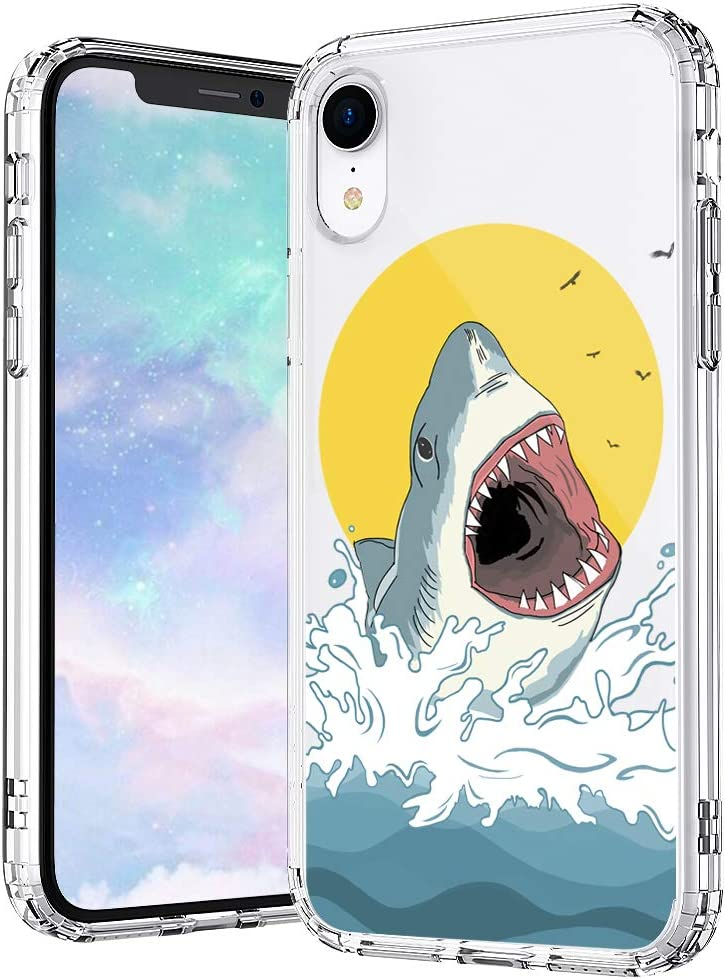 MOSNOVO iPhone XR Case, Shark Pattern Printed Clear Design Transparent Plastic Hard Back Case with TPU Bumper Protective Case Cover for iPhone XR