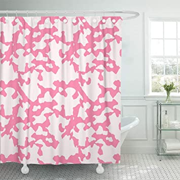 Emvency Shower Curtain Abstract Camo Pattern Spring Repeatable Glamour Camouflage In Dusty Pink And Puffy Colors