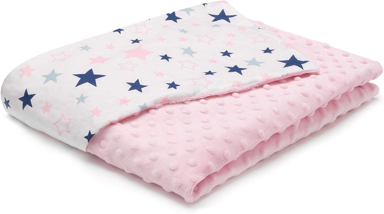 Manta para bebé EliMeli Minky, manta para cochecito de bebé, manta para gatear, hecha de tela muy suave y algodón, ideal como regalo para el verano y la primavera rosa Color rosa con estrellas.