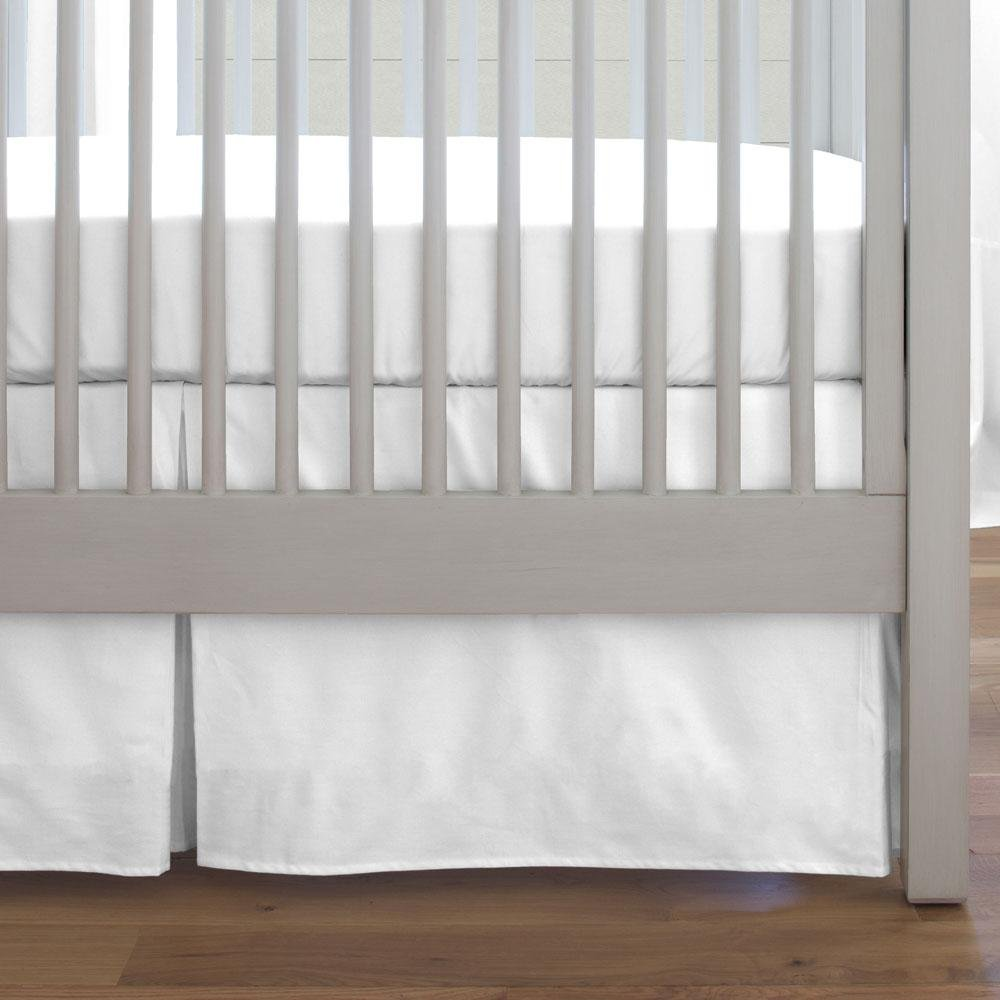 Carousel Designs Solid White Crib Skirt Box Pleat 20-Inch Length