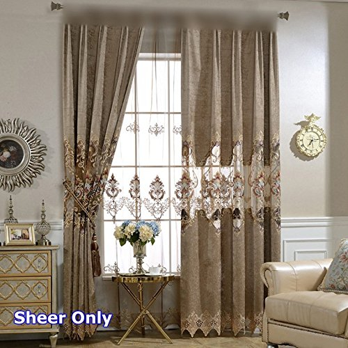 (European Deluxe Curtain Set Clear Sheer For Villa Living Room Saloon Brown Embroidered Window Sheer Tulle Luxurious Jacquard Voile for Party 75 in Wide 84 in Long 1 Pair (2 Panels) Total 150 in ZZCZZC)