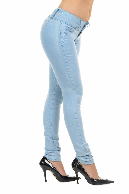 M.Michel Women's Jeans Colombian Design, Butt Lift, Levanta Cola, Push-up, Skinny - Style M690 - Light Blue - Size 0