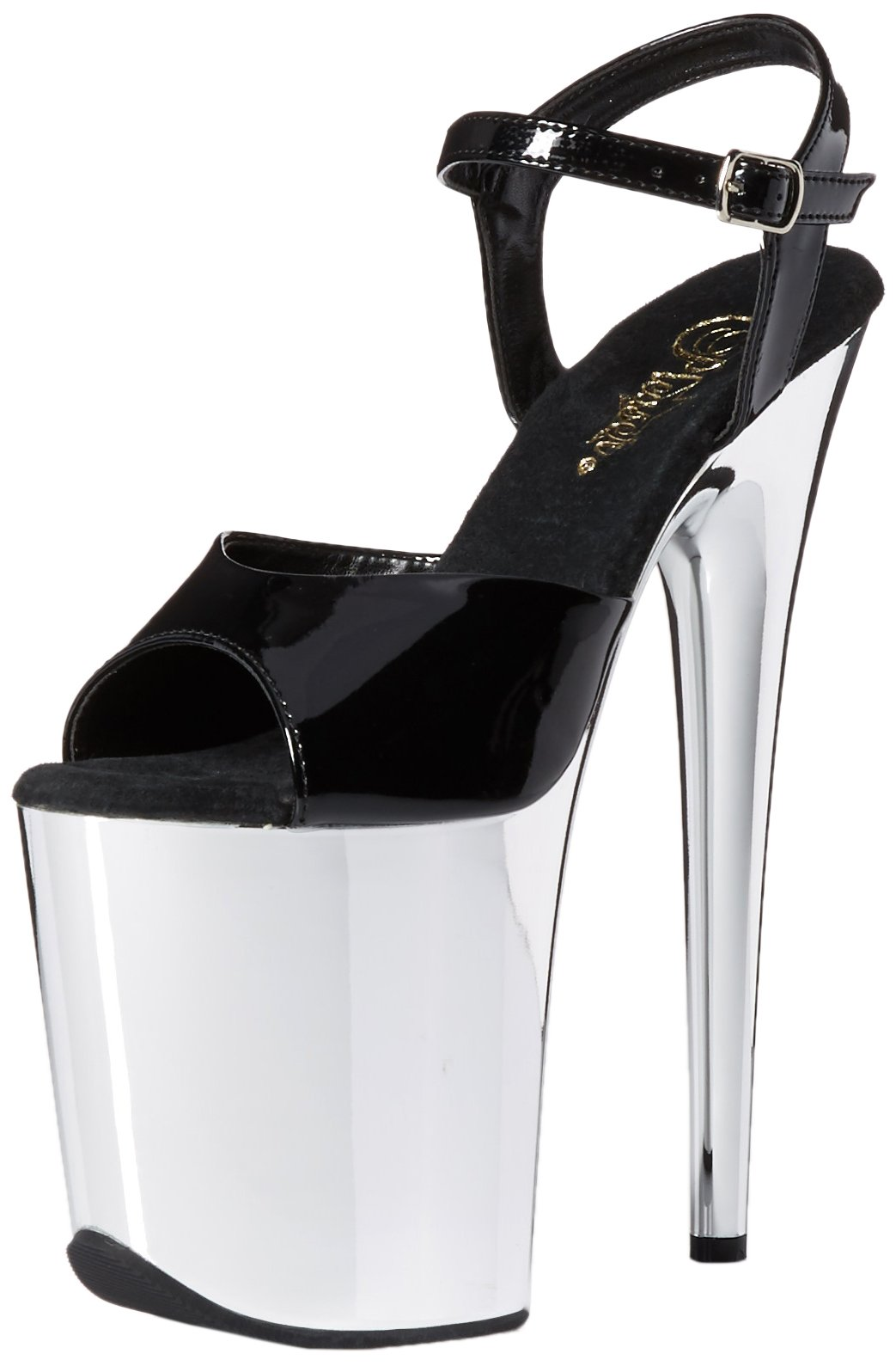 Pleaser FLAM809/B/SCH Women's Platform Dress Sandal, Black Patent/Silver Chrome, 8 M US