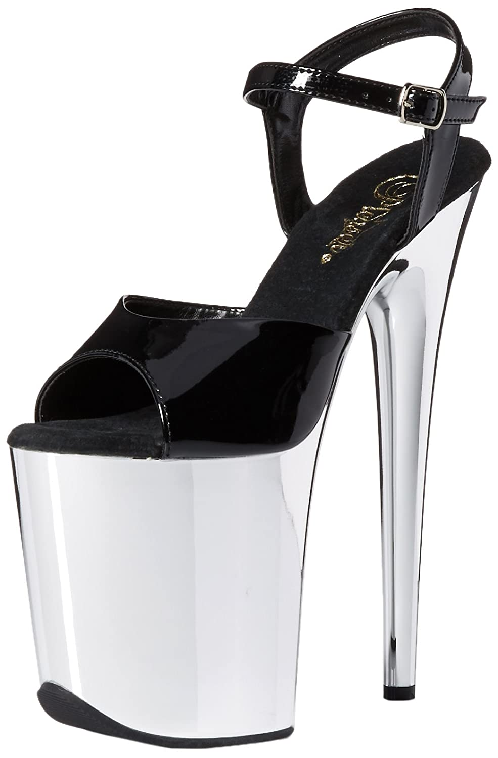 Pleaser Women's FLAM809/B/SCH Platform Dress Sandal B014IZC7YE 11 B(M) US|Black Patent/Silver Chrome