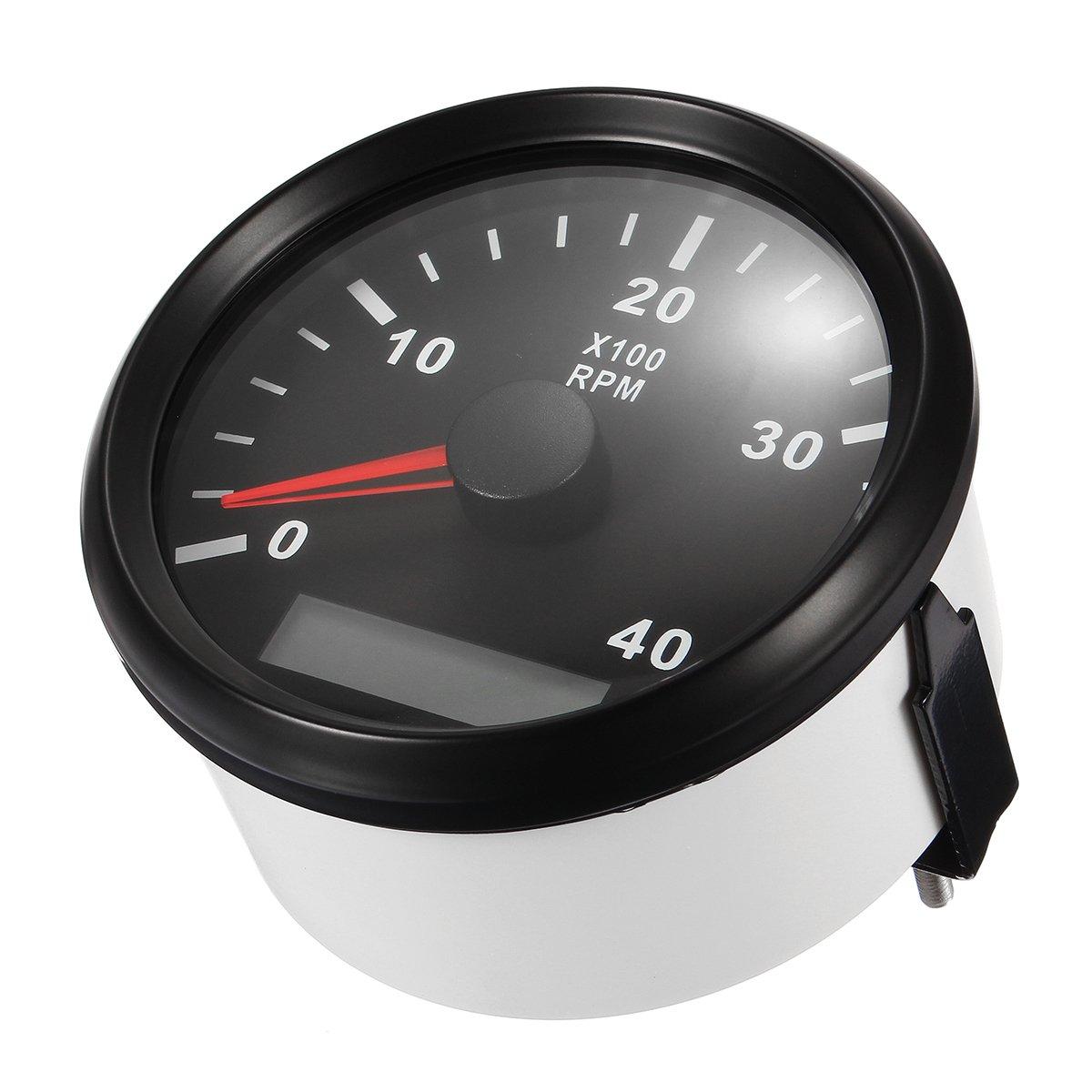 NeDonald 12/24V Marine Tachometer Boat Tacho Meter Gauge LCD Hourmeter 0-4000 RPM 85mm by NeDonald (Image #3)