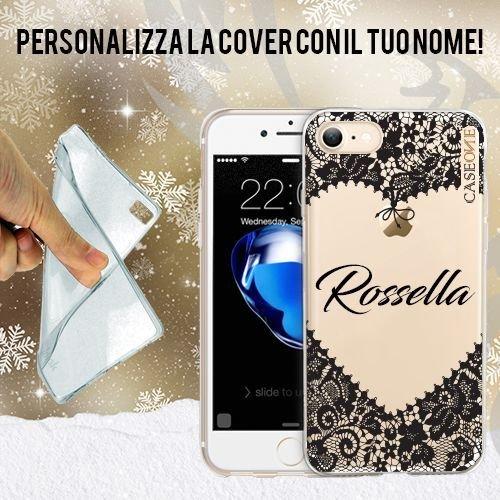 CUSTODIA COVER CASE TRASPARENTE CUORE PIZZO RICAMO MERLETTO NERO CON NOME PERSONALIZZATO IPHONE 6/6S