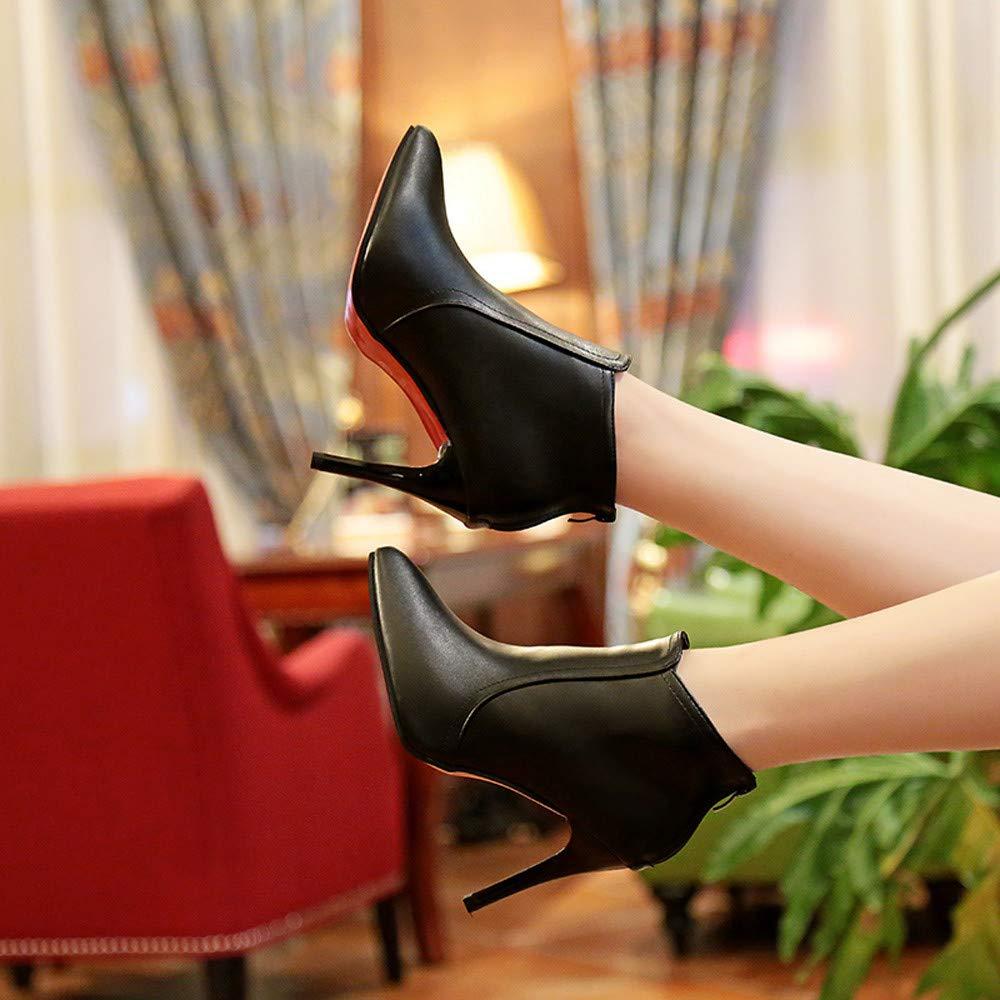 Yazi Dan Mujer puntiaguda dedos guantes Reiner farbzipper High Heels hacha äufig Martin Botas Mujer strecken Stiletto de tacón tobillo abge Batir Sexy fina ...