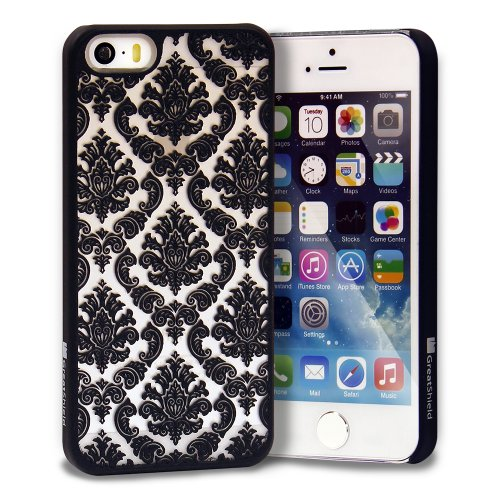 iPhone SE Case, GreatShield [TACT | Damask Design] Pattern Rubber Coating Embossed Snap On Case Back Cover for Apple iPhone SE / 5S / 5 (Black)