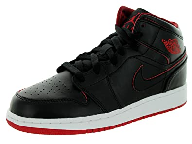 d758537d0d7 Jordan Big Kids Air 1 Mid BG (Black Black-White-Gym red