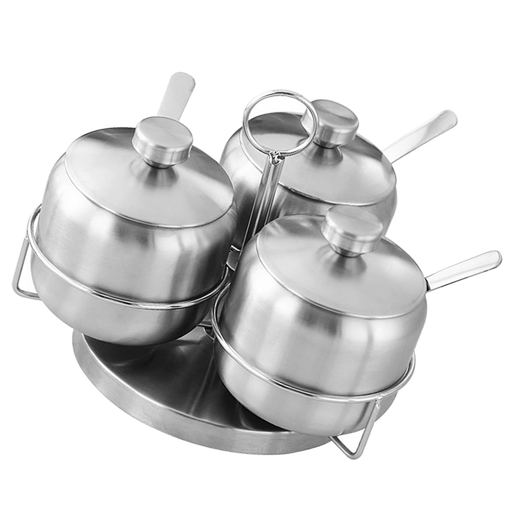 Fityle Stainless Steel Seasoning Container Solution, Serving Spice Salt Sugar Pepper Storage Organizer Condiment Pot - 3pcs