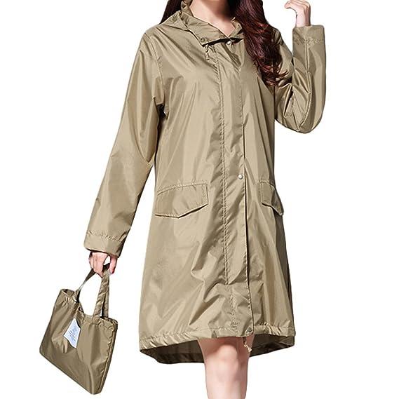 best cheap e7a9d a9ecc Juleya Impermeabile Donna Impermeabile con Cappuccio Giacca Lunga da  Pioggia Giacca da Pioggia Traspirante Poncho Outdoor Rainwear