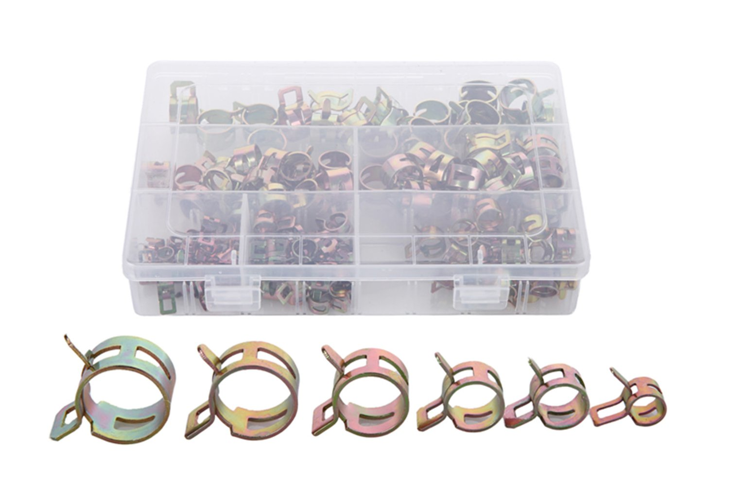 Eowpower 200Pcs 6/7/9/10/11/14/16/17mm Spring Clips Fuel Hose Line Water Pipe Air Tube Clamps Fasteners Assortment Kit