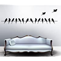 Decals Design 'Beautiful Long Tail Birds on Wire' Wall Sticker (PVC Vinyl, 70 cm x 25 cm, Black)