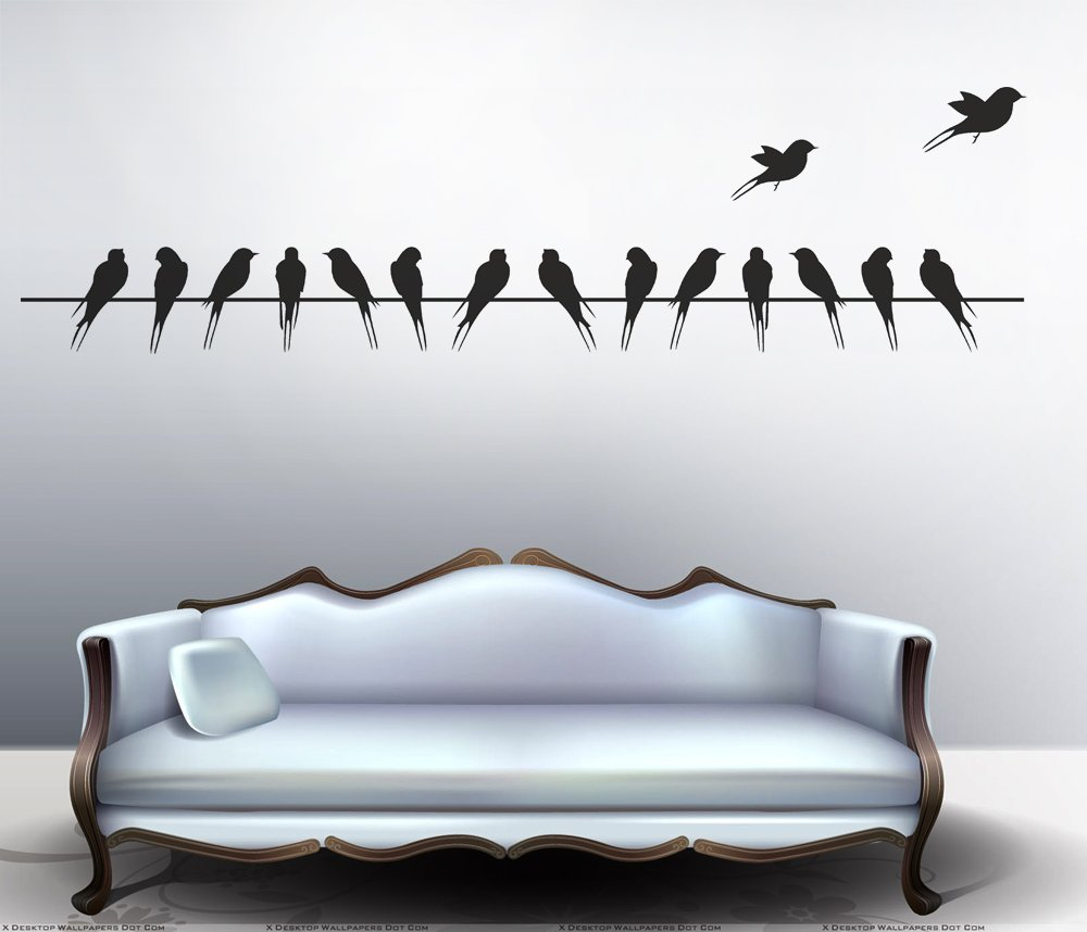 Wonderful Buy Decals Design U0027Beautiful Long Tail Birds On Wireu0027 Wall Sticker (PVC  Vinyl, 70 Cm X 25 Cm, Black) Online At Low Prices In India   Amazon.in
