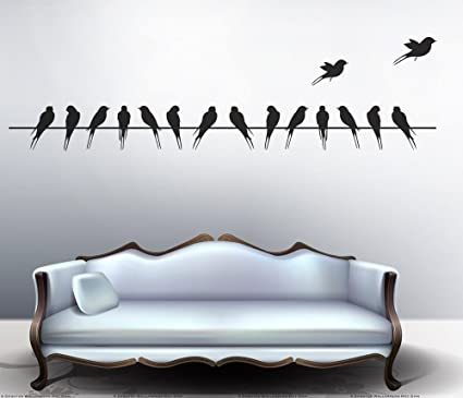 Decals Design Beautiful Long Tail Birds on Wire Wall Sticker (PVC Vinyl, 70 cm x 25 cm, Black)