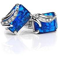 D DOLITY 1 Pair Mens Blue Crystal Shirt Cufflinks Cuff Links Wedding Groom Daddy Gift