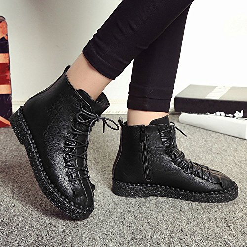 Flat Brown Platform Boots JERFER Black Women Boots 35 Fashion Vintage Boots Shoes 40 Student Black Martin British qwzqCTf