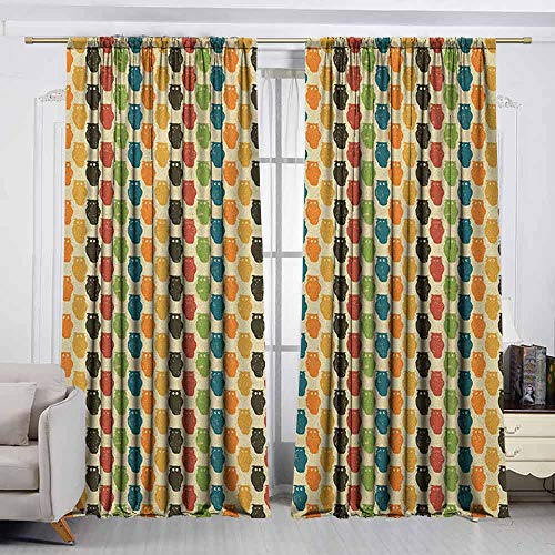 VIVIDX Bedroom Curtains,Owls,Retro Styled Colorful Animal Silhouettes with Grunge Display Halloween Inspirations,Room Darkening, Noise Reducing,W72x45L Inches Multicolor -