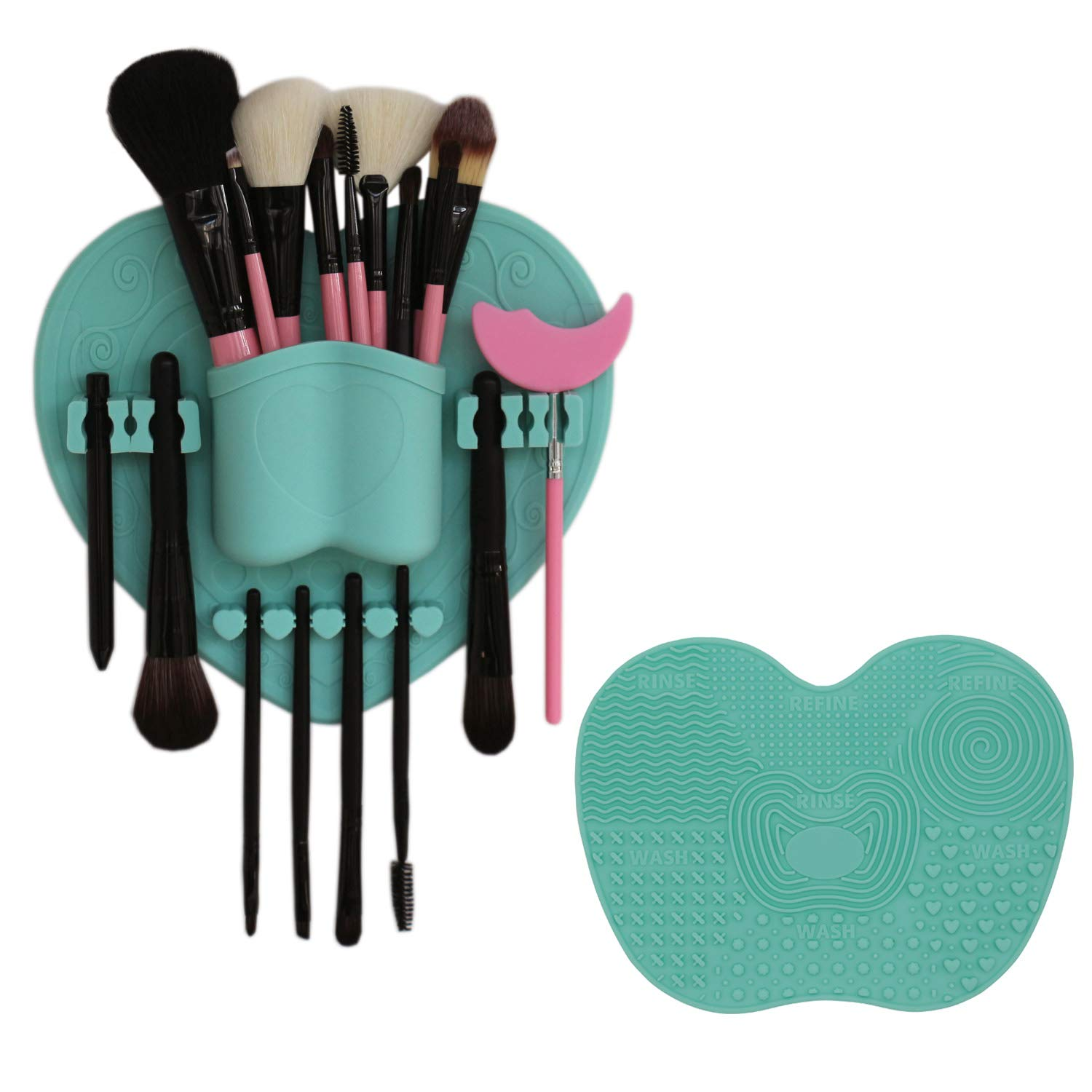 LORMAY Silicone Makeup Brush Organizer + Makeup Brush Cleaning Mat - Makeup Brush Holder for Air Drying. Easy to Mount to Wall,Mirror, Dresser or Tile (Mint Green)