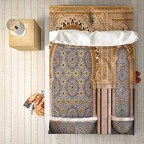 Moroccan Decor Comfortable 4 Piece Bedding Set,Typical Moroccan Tiled Fountain in The City of Rabat Near The Hassan Tower for Hotel,One Side Print : Double (Best Hotels In Rabat)
