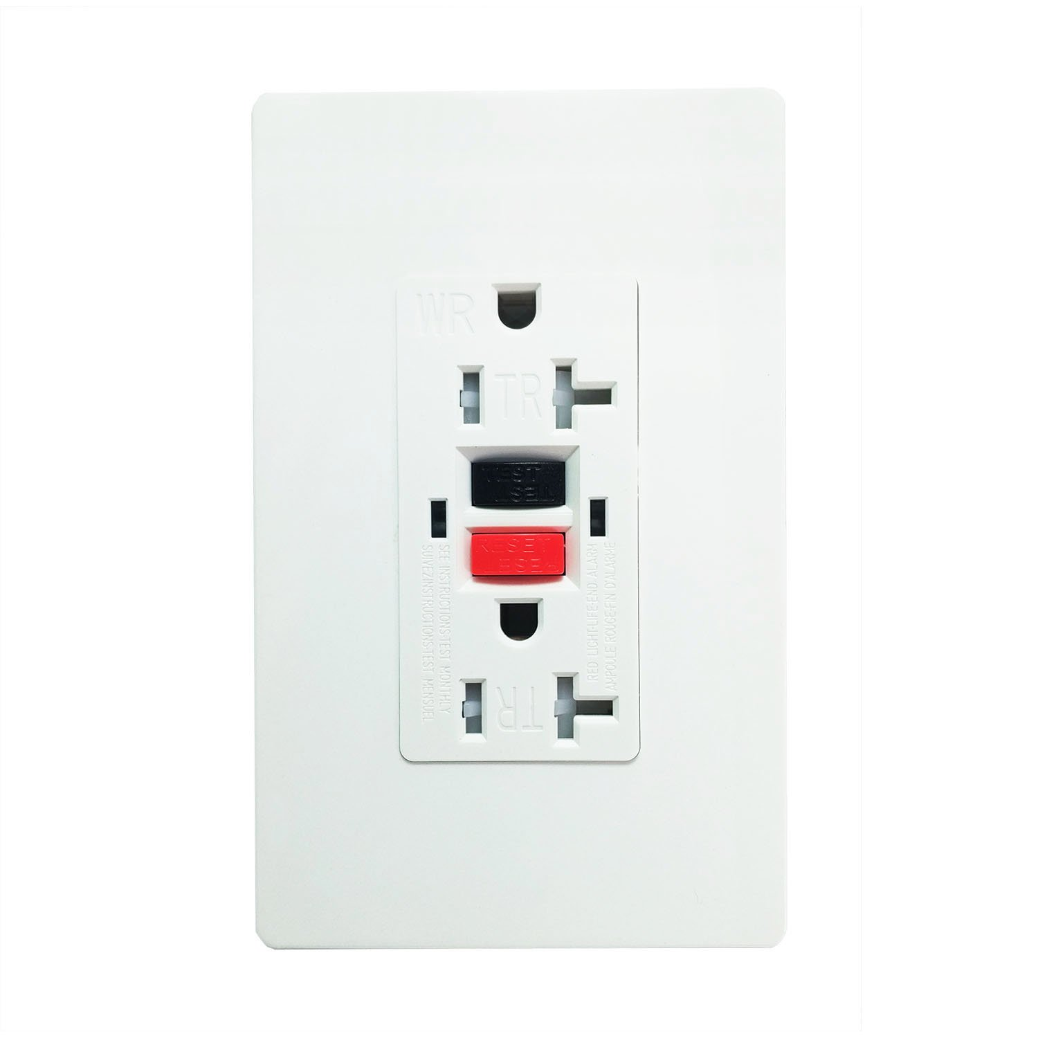 GFCI 20 Amp 125 Voft TR Wall Outlet. SECKATECH Tamper-Resistant | Weather-Resistant | Commercial Grade Standard Wall Socket, Automatically Tests Receptacle with 2 Free Wall plates(UL Listed) 1PACK