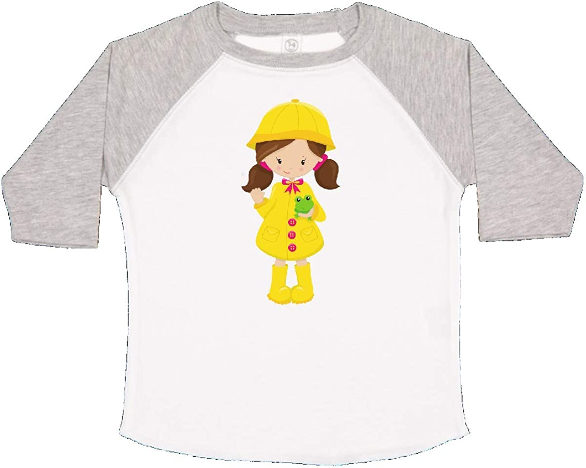 inktastic Girl with Brown Hair Frog Toddler T-Shirt Yellow Raincoat