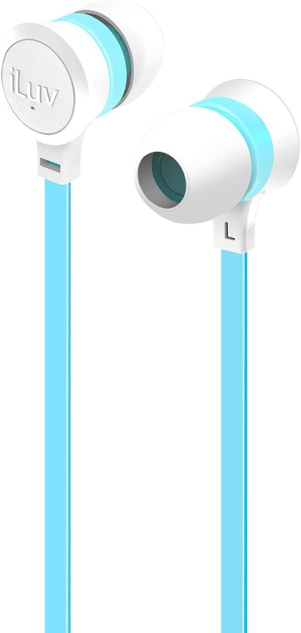 iLuv Neon Color Stereo Earphones with Tangle-Resistant Flat Cable, Noise Isolation, Durable Design, and 3 Size Ear Tips for iPhone, iPod, Smartphones, and Tablets, White/Blue