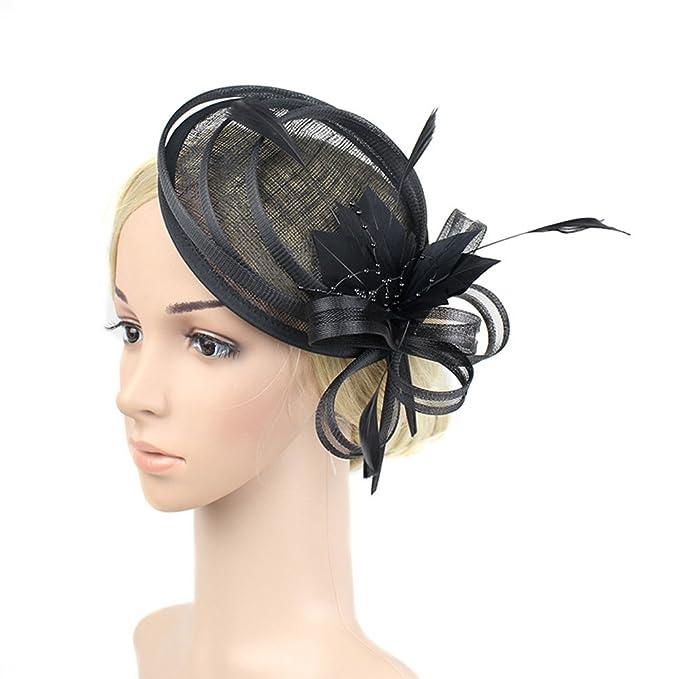 Yiweir Women Black Fascinator Hair Clip Cocktail Wedding Headwear Flower  Funeral 821465d4350