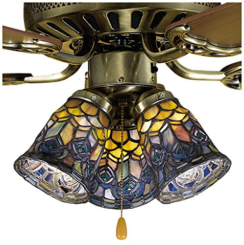Art Glass Stained Glass Chandelier - Meyda 27459 4-Inch W Tiffany Peacock Feather Fan Light Shade, Blue