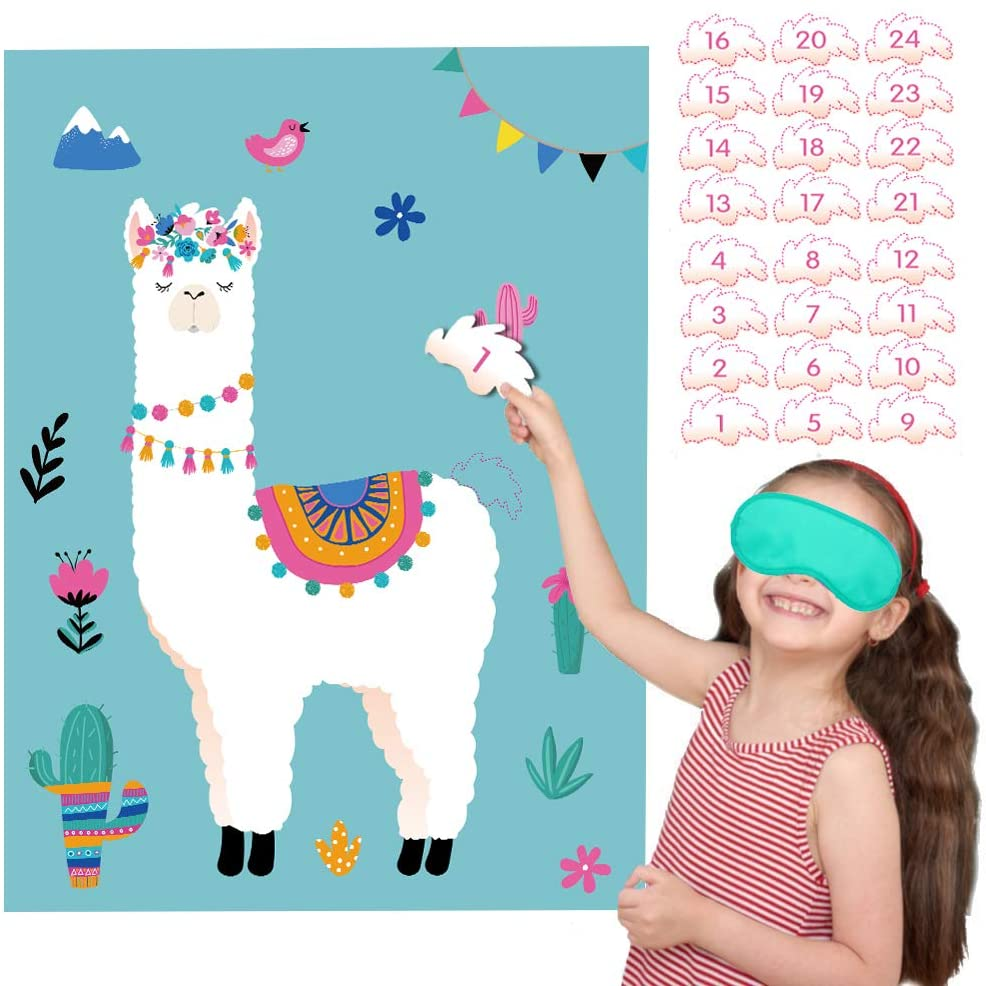 Happy Storm Pin the Tail on the Llama Fiesta Party Games Cactus Cinco de Mayo Birthday Party Supplies Llama Theme Party Favors for Kids