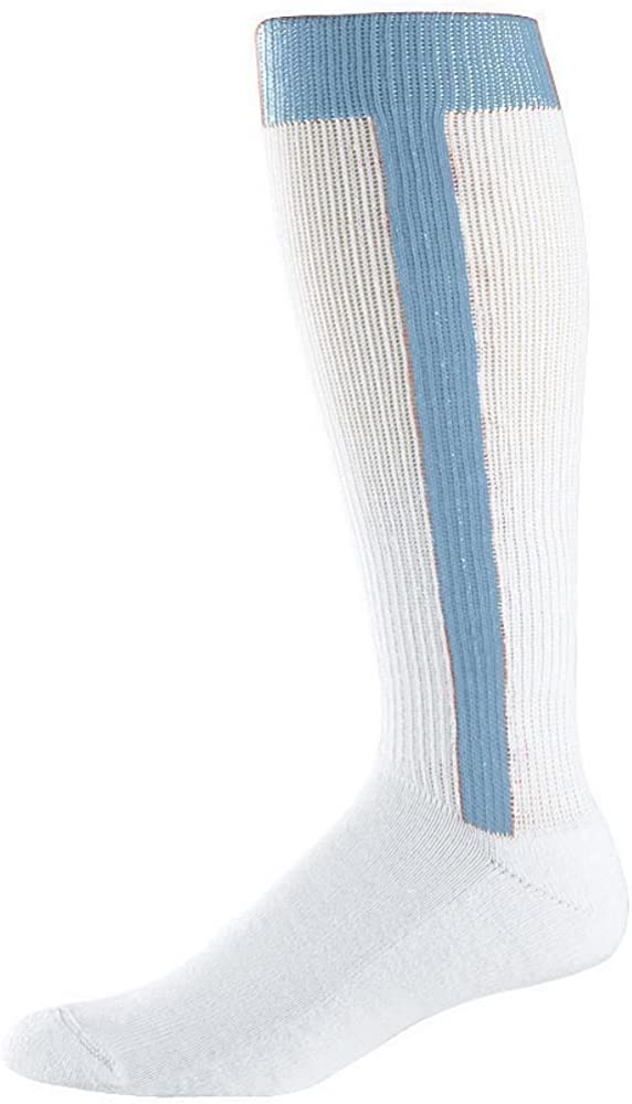 L, Columbia Blue Mens Russell Athletic Sport Soccer Baseball Striped Color Socks Size Large 6 pairs