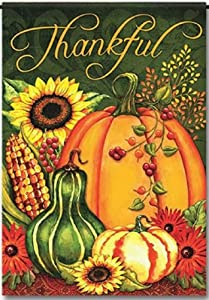 """Discount Flags USA Thankful Harvest Welcome Garden Flag - Autumn Pumpkins Fall Design - One Sided Outdoor Yard Decor - Polyester 11.75"""" x 17.5"""" in Size"""