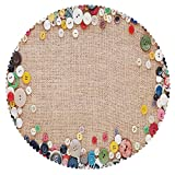 iPrint Mildew Resistant Round Tablecloth [ Vintage,Buttons Collection Fabric Texture Canvas Frame Sewing Needlecraft Contemporary Picture,Light Brown ] Fabric Home Tablecloth Ideas