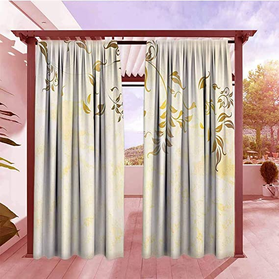 Andytours Blackout Rod Pocket Curtain Panel Beige Decor Antique Classic Backdrop With Curving Branch Nostalgic Vintage Silhouettes Artwork Room Darkening Noise Reducing W84x96l Gold And Beige Amazon Co Uk Garden Outdoors