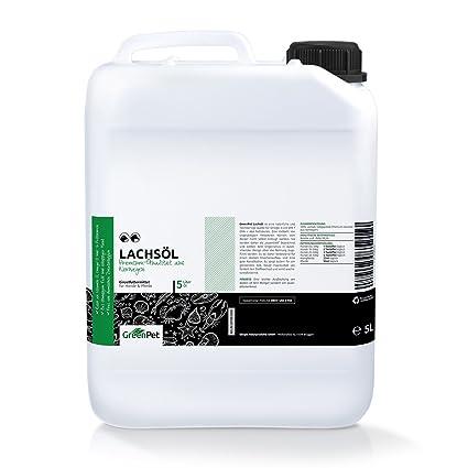 GreenPet Aceite de salmón 5 Litros para Perros, Gatos y Caballos, ácidos grasos omega-3, producto puro 100% natural, ideal como complemento ...