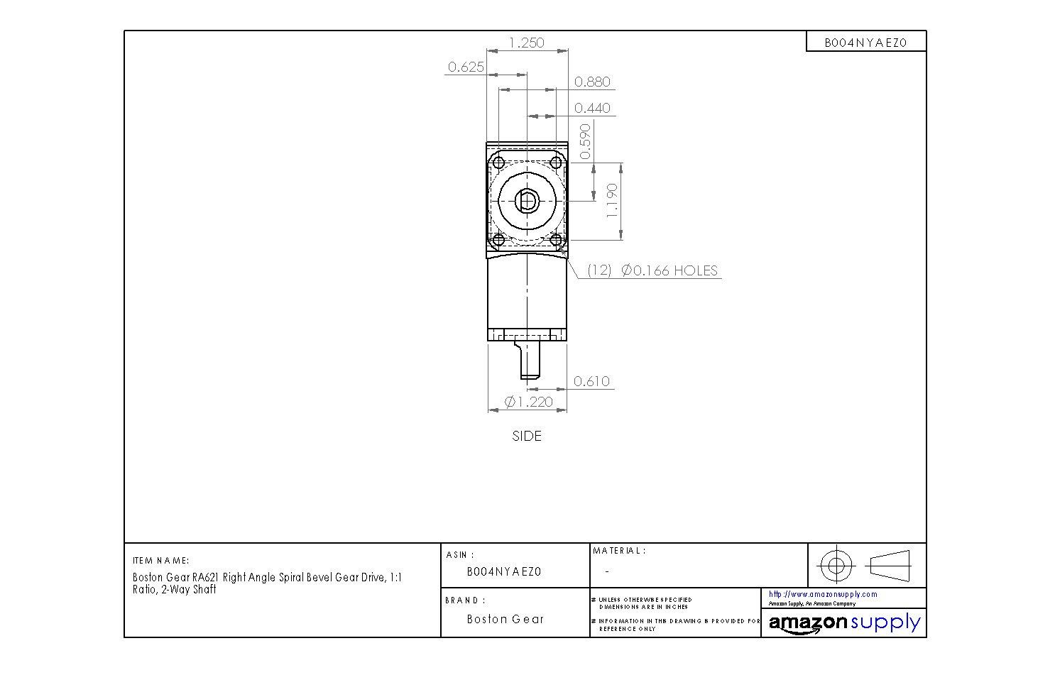 1:1 Ratio Boston Gear RA621 Right Angle Spiral Bevel Gear Drive 2-Way Shaft
