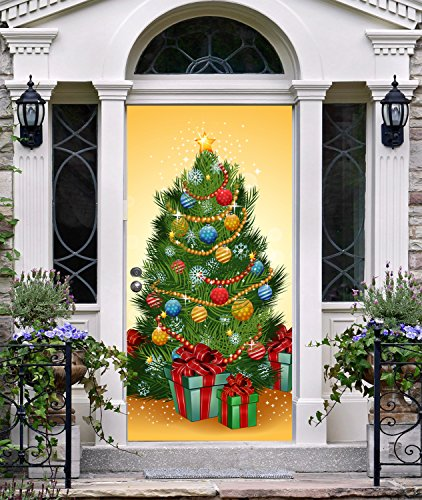 New Year Front Door Cover Entry Doors Vinyl 3D Banner Christmas Decor Outside House Holiday Door Decorating Ideas ON30