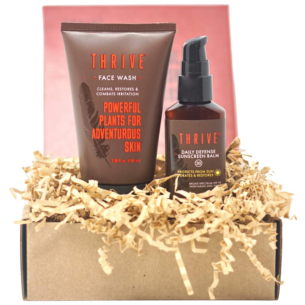 Thrive Natural Daily Defense Skincare Kit for Women & Men (2 Piece) – Gift Set With Natural Face Wash & Moisturizer with Non Nano Zinc Mineral SPF 30 – Made in USA with Organic & Natural Ingredients