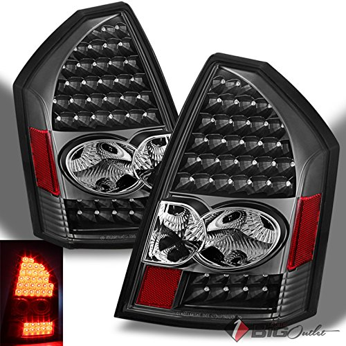For 2005-2007 Chrysler 300C Black LED Performance Tail Lights Rear Brake Lamps Pair Left+Right/2006 (Tail 300c Lamps)