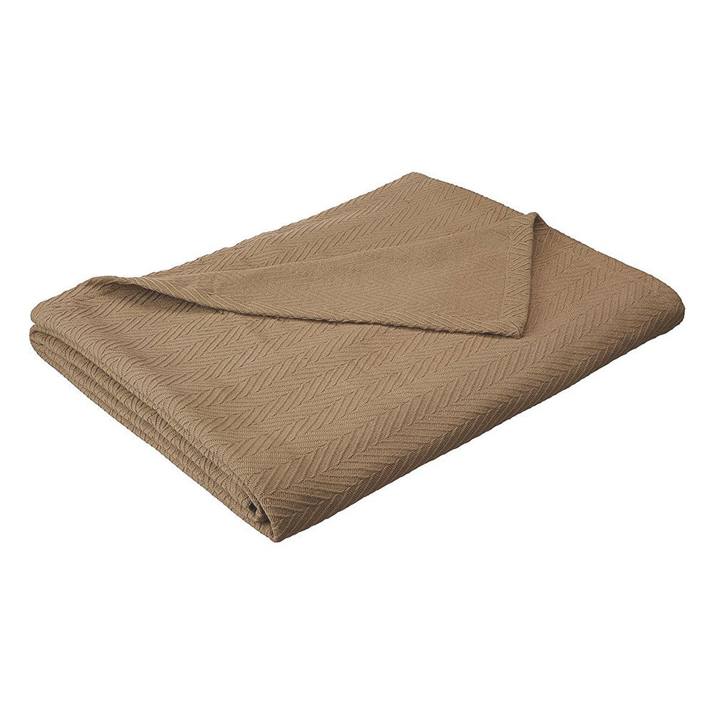 eLuxurySupply Metro Weave Blanket - 100% Soft Premium Cotton Blanket - Perfect for Layering Any Bed, Twin/Twin XL, Taupe
