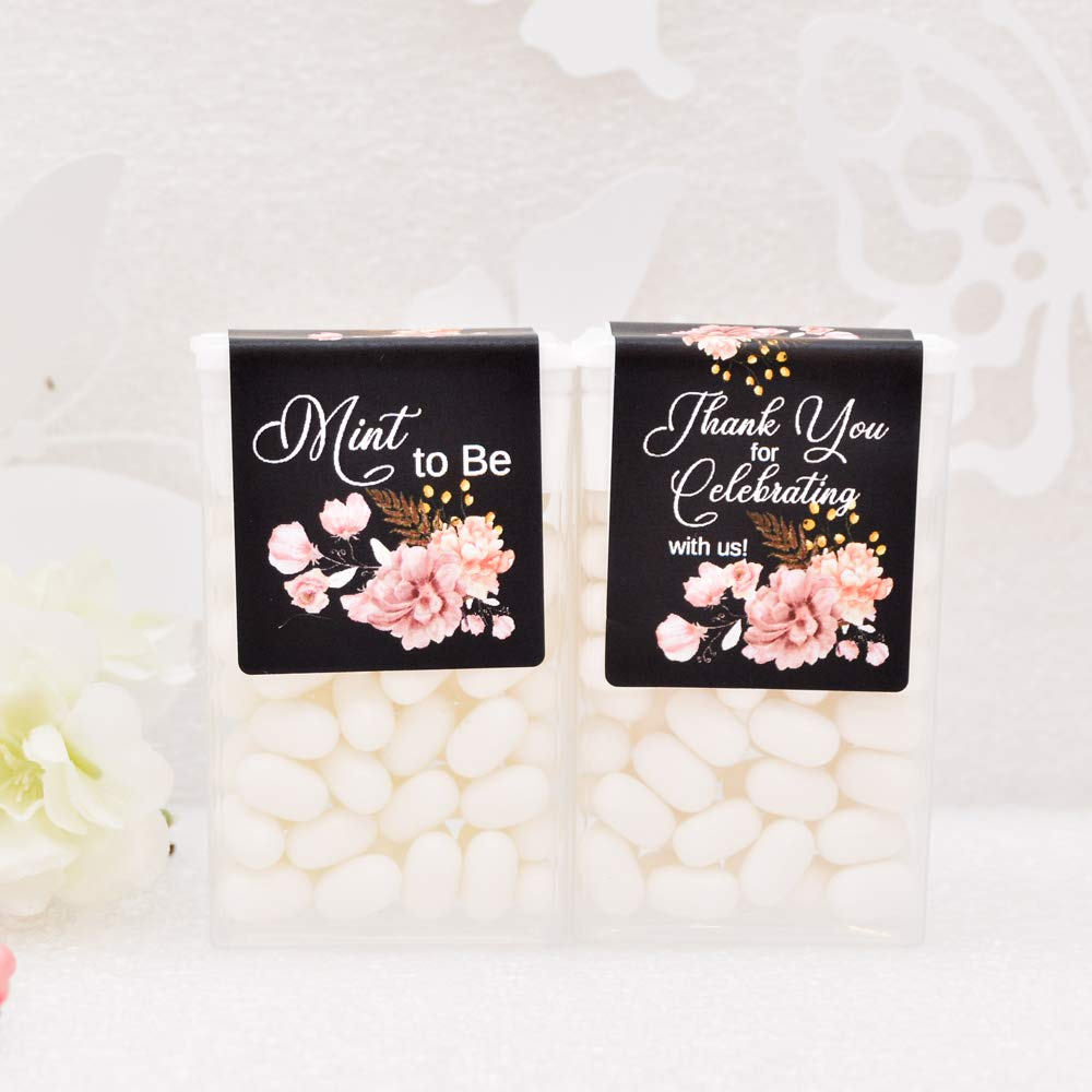 24 Floral Tic Tac Labels, Bridal Shower Tic Tac Stickers, Mint to Be Favor Labels, Tic Tac Stickers