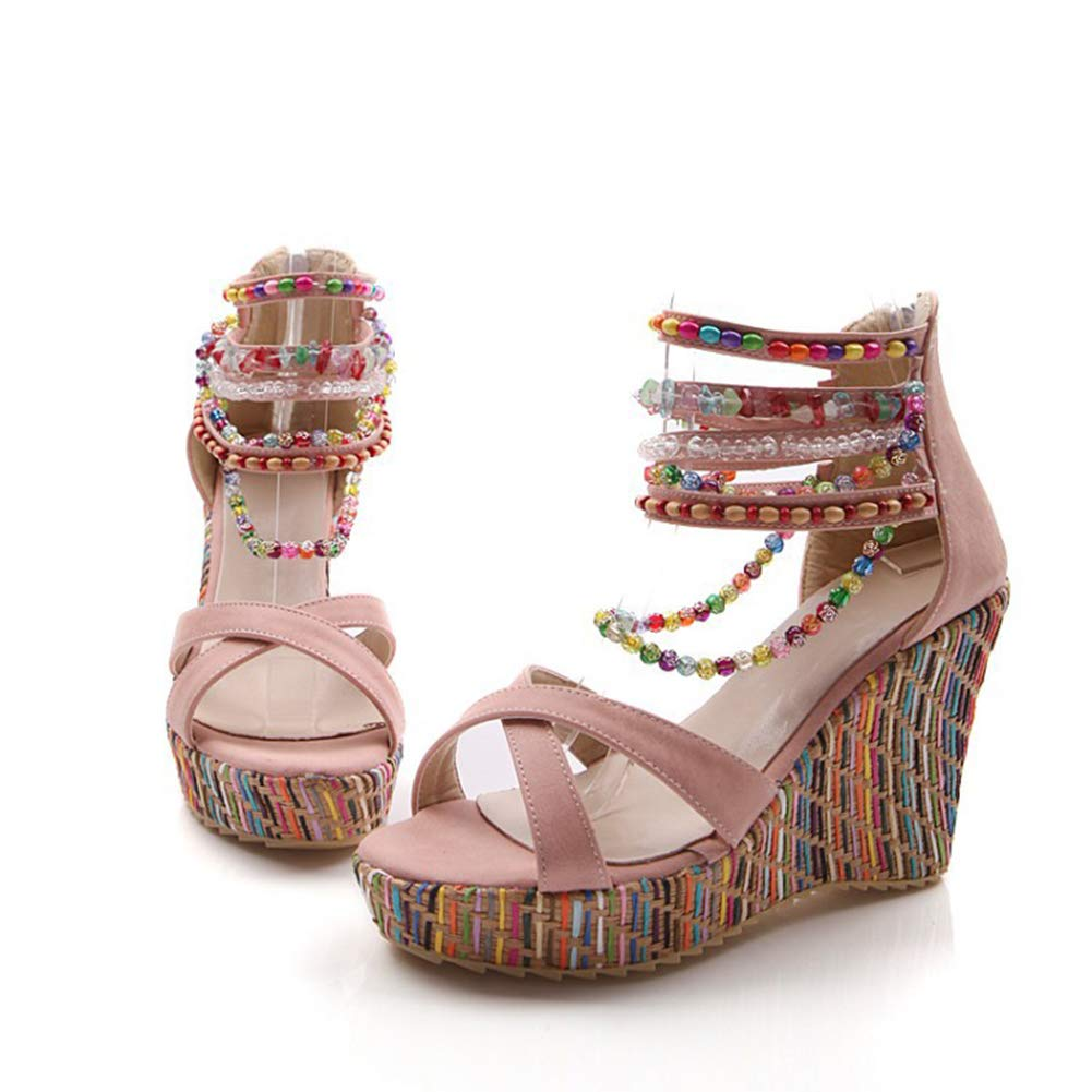 Pink Women Sandals Ladies Bohemian Style Handmade Beading Comfy Peep Toe Buckle Breathable shoes Leather Casual shoes,Brown,43