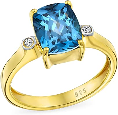 London Blue Topaz Ring Solitaire Ring Yellow Gold Plated SilverRing