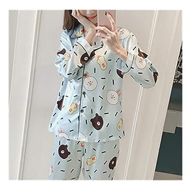 3fda98e7c5 Women Satin Silk Pajamas Set Cartoon Rabbit Print Pyjama Set Long Sleeve  Sleepwear Blue M