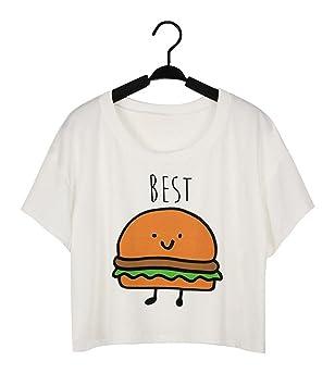 JIAJIA YL Camiseta de impresión divertida Camisetas de algodón de las mejores amigas camisetas Tops camiseta