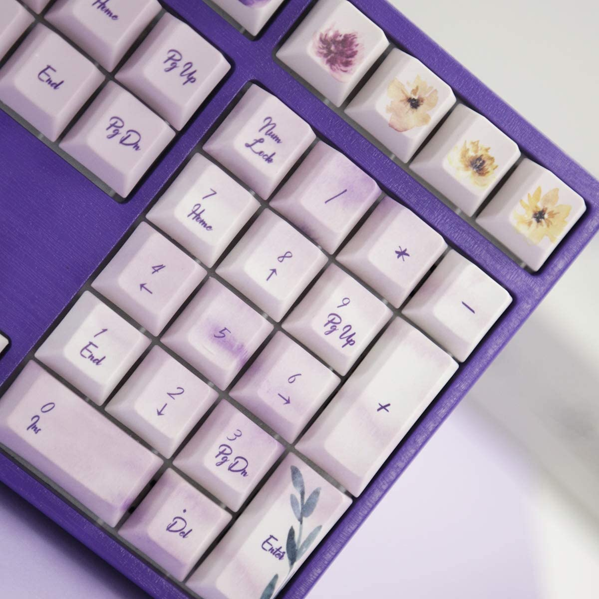 108 and 125 Typography Suitable for Cherry MX Switch,1 SSSLG PBT Keycap Cherry Height Violet Pattern