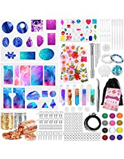 Resin Molds Silicone Jewelry Making Starter Kit, 238 Pcs Epoxy Resin Supplies for Beginners Tools Set with DIY Pendant, Fine Glitter, Dried Flowers, Gold Foil Flakes, Arts Crafts, Instruction Included
