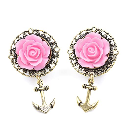 Amazoncom 3D Pink Rose Gold Anchor Ear Tunnel Earring Stainless
