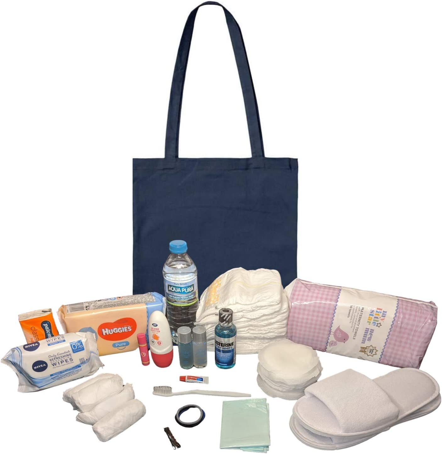 Pre Packed Maternity Hospital Navy Cotton Tote Bag Newborn Baby Set